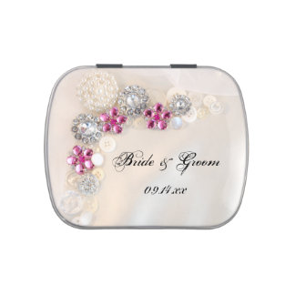 White Pearl and Pink Diamond Buttons Wedding Favor Jelly Belly Candy Tin