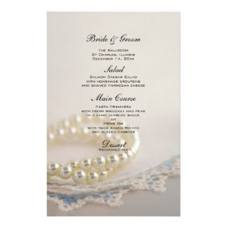 White Pearls and Blue Lace Wedding Menu