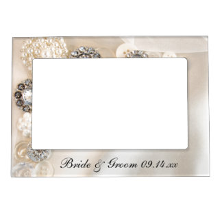 White Pearls and Diamond Buttons Wedding Magnetic Picture Frame