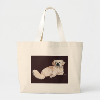 White Pekingese Dog Tote Bag