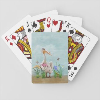White Pelican with Flowers and Butterflies Playing Cards