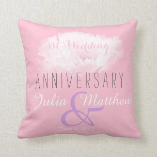 White Peony 1st Wedding Anniversary custom Pillow