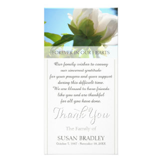 White Peony Sympathy Thank you Photo card