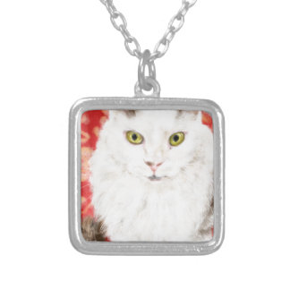 White Persian cat Silver Plated Necklace