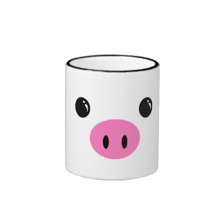 White Piglet Cute Animal Face Design Coffee Mug