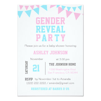 White Pink Blue GENDER REVEAL PARTY Baby Shower Card
