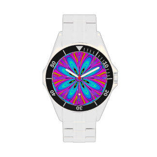 White pink Cyan Blue Abstract Flower Watch