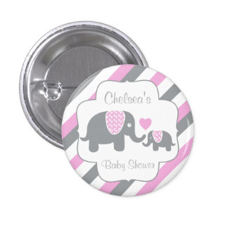 White, Pink & Gray Stripe Elephants Baby Shower 3 Cm Round Badge