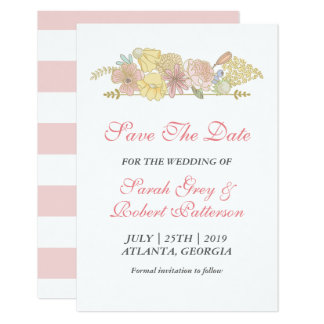 White Pink Spring Flowers Wedding Save The Date Card