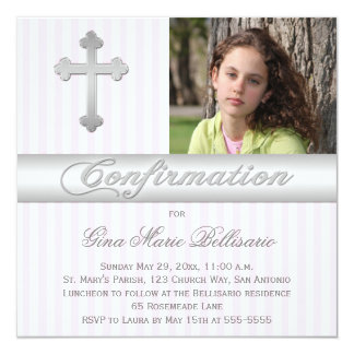White, Pink Stripes Confirmation Photo Invitation