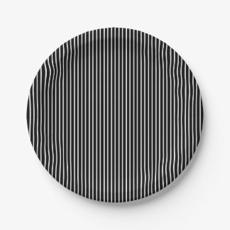 White Pinstripe Paper Plates 7 Inch Paper Plate