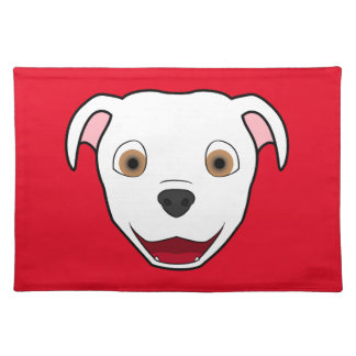 White Pitbull Face Placemat