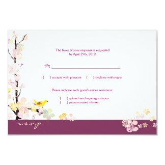 White + Plum Sakura Bird Wedding RSVP 9 Cm X 13 Cm Invitation Card