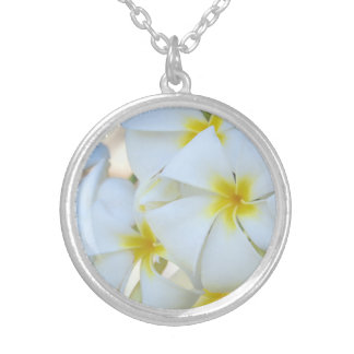 White Plumeria Flowers Silver Plated Necklace