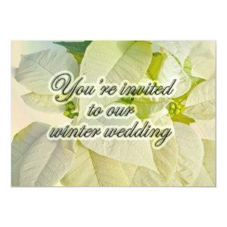 White Poinsettias Winter Wedding Pre-Invitation Card