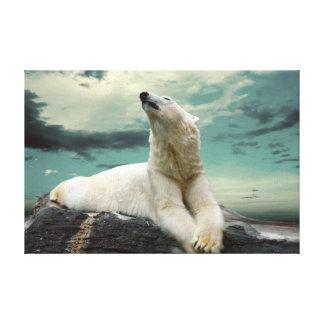 White Polar Bear Hunter on rock Canvas Print