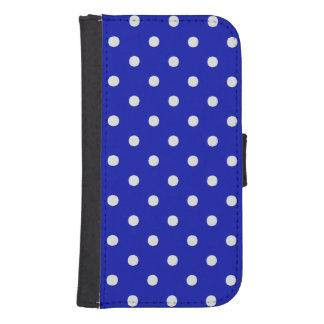 white polka dots blue samsung s4 wallet case