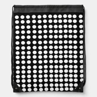White Polka Dots Drawstring Backpack