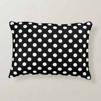 White Polka Dots on Black Background Accent Cushion