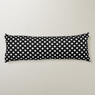 White Polka Dots on Black Background Body Cushion