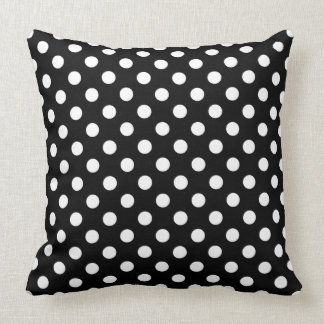 White Polka Dots on Black Background Cushions