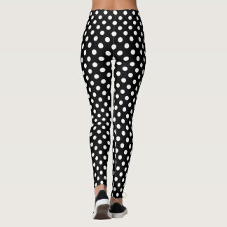 White Polka Dots on Black Background Leggings