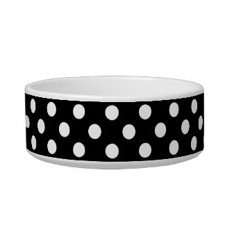 White Polka Dots on Black Background Pet Food Bowls