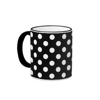 White Polka Dots on Black Background Ringer Mug