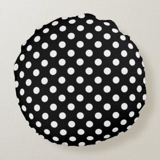 White Polka Dots on Black Background Round Cushion