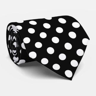 White Polka Dots on Black Background Tie