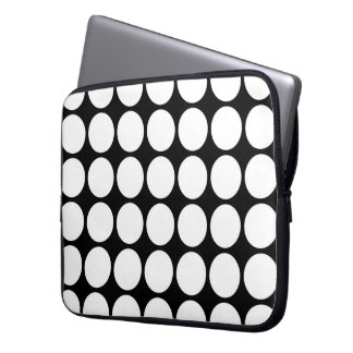 White Polka Dots on Black Laptop Sleeve
