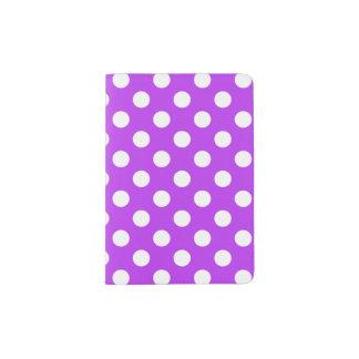 White polka dots on bright purple passport holder