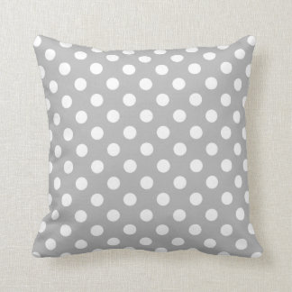 White Polka Dots on Chrome Grey Background Cushion