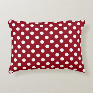White Polka Dots on Crimson Red Accent Cushion