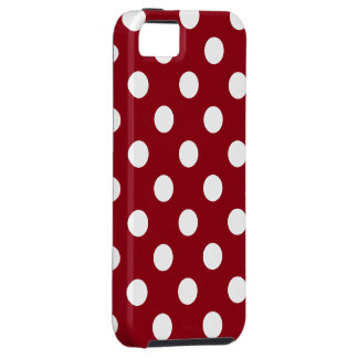 White Polka Dots on Crimson Red iPhone 5 Cases
