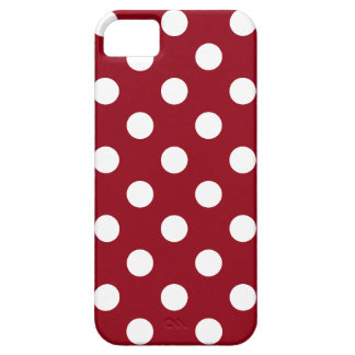 White Polka Dots on Crimson Red iPhone 5 Cover