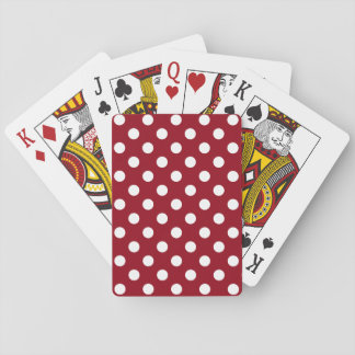 White Polka Dots on Crimson Red Playing Cards
