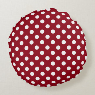 White Polka Dots on Crimson Red Round Cushion