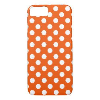 White polka dots on orange iPhone 7 case