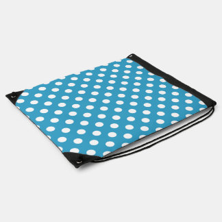 White Polka Dots on Peacock Blue Background Drawstring Bag
