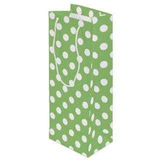 White Polka Dots on Pistachio Green Wine Gift Bag