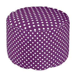 White Polka Dots on Purple Pouf