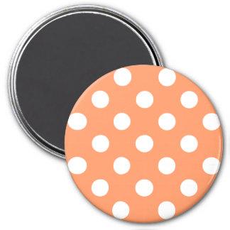 White Polka Dots on Tangerine Orange 7.5 Cm Round Magnet