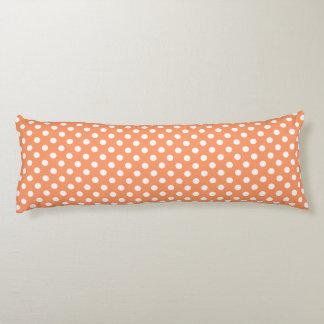 White Polka Dots on Tangerine Orange Body Cushion