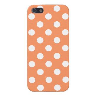 White Polka Dots on Tangerine Orange Cover For iPhone 5/5S