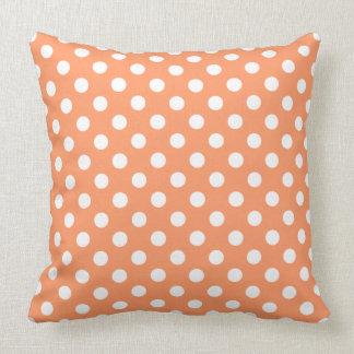 White Polka Dots on Tangerine Orange Cushions