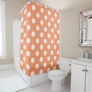 White Polka Dots on Tangerine Orange Shower Curtain