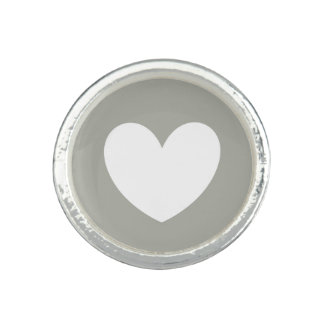 White polka hearts on Pussywillow Gray Ring