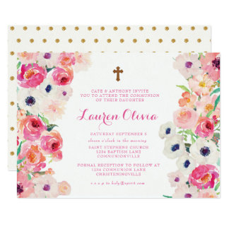 White Poppies and Pink Roses Communion Invitation
