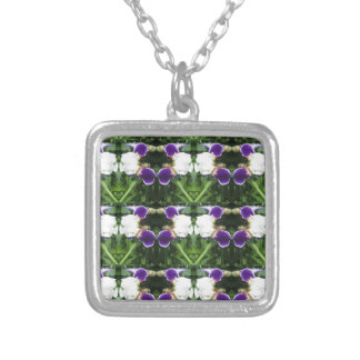 White Purple Green Show CherryHILL NVN217 NavinJOS Silver Plated Necklace